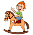 A cartoon boy riding a horse toy vector image vector image