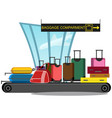 airport conveyor belt with passenger luggage bags vector image