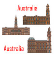 australia architecture landmarks and buildings vector image vector image