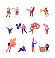 autumn activities and oktoberfest set characters vector image