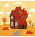 autumn landscape with wooden house tree bush vector image vector image