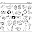 b is for educational task coloring book vector image vector image