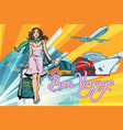 beautiful woman passenger tourist bus train cruise vector image vector image