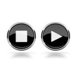 black round media buttons play and stop buttons vector image