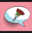 bouquet of flowers in bubble pop art cartoon vector image vector image