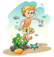 Boy under the sea vector image vector image