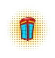 British red phone booth icon comics style vector image vector image