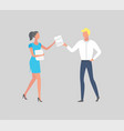 business people hands documents achieve excellence vector image vector image