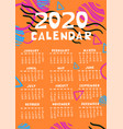 calendar 2020 in different colors with abstract vector image