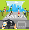 cartoon using smartphone driving car card poster vector image
