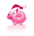 Christmas piggy bank vector image vector image