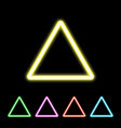 colorful neon triangle sign vector image vector image