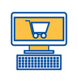 computer and shopping cart online virtual market vector image