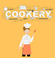 cookery with spoon and food icons design vector image vector image