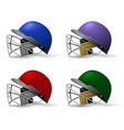 cricket helmets set with protective grill cricket vector image vector image