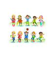 cute happy kids playing in rain set boys and vector image vector image