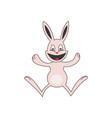 cute pink bunny happy vector image vector image