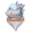 cute whale animal in the stone with seaweed plants vector image vector image