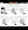educational cartoon alphabet letters coloring book vector image vector image