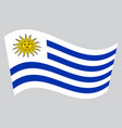 flag of uruguay waving on gray background vector image vector image