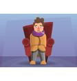 flu man in sofa concept banner cartoon style vector image vector image