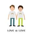 Gay family Boy couple Rainbow on shirt Love is vector image vector image