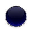 glass blue shiny 3d button with metal frame vector image vector image