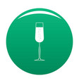glass of champagne icon green vector image vector image