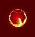 golden easter egg and gold luxury round frame vector image