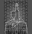 graphic glass of wine bottle and grapes on the vector image