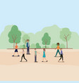 group of people walking and running on the park vector image vector image