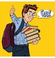 Happy Schoolboy with Backpack and Books vector image vector image