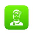 hipster woman icon digital green vector image vector image
