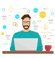 Man programmer hipster is working coding and vector image vector image
