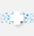 medical cross and icons technology background vector image