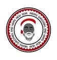 Monochrome flat daring hipster black Santa Claus vector image