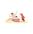 mother father and son having fun on beach cute vector image vector image