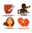 movie genre icons flat isolated symbols vector image vector image