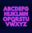 purple pink neon alphabet on a dark background vector image