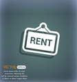 Rent icon symbol on the blue-green abstract vector image