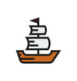 sailing ship icon on white background vector image vector image