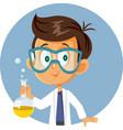 schoolboy holding chemistry beaker in science vector image