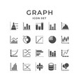 set line icons of graph and diagram vector image