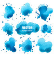 set of splash blue watercolor splash vector image