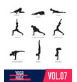 set silhouettes yoga poses vector image vector image