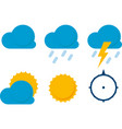 six weather icons in flat style clouds sun and vector image
