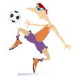 smiling young man playing football vector image vector image