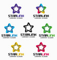 star link - 3d infinity star logo template vector image vector image