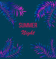 summer night tropical design with palm leaves vector image vector image