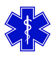 the star of life with the staff of asclepius vector image